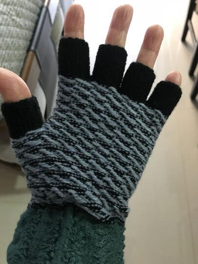卡尔哈蒙韩版毛线手套女冬半指加绒加厚可爱情侣款男半指露手指手套 黑色配灰 晒单图