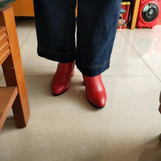 足颜冬季高跟鞋女短靴粗跟尖头真皮短筒显瘦百搭红色马丁靴大小码欧美中女靴子春秋单靴 红色绒里 37 晒单图
