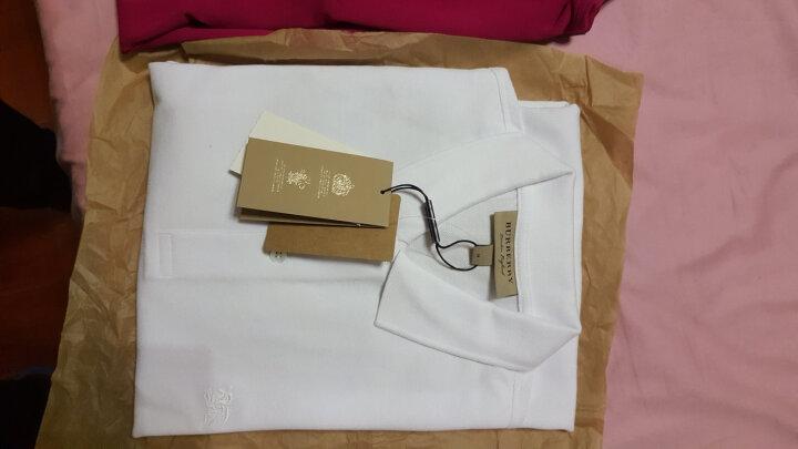 BURBERRY 巴宝莉男装 男士格纹开襟棉质Polo衫 白色 39559941 M 晒单图