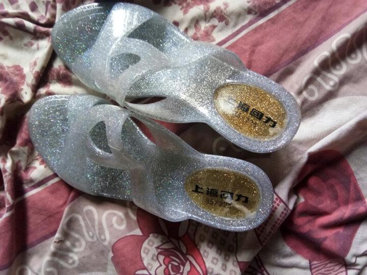 回力拖鞋女鞋夏季防水时尚坡跟塑料鞋情侣鞋沙滩鞋 黑色 36 晒单图