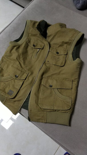 吉普盾 马甲男春季男士多口袋户外休闲工装马夹钓鱼摄影加大码背心 卡其色-两面穿 XL 晒单图