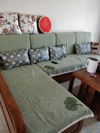 棉麻沙发垫四季沙发垫套装夏季欧式沙发套罩简约现代防滑沙发巾沙发坐垫子 奔跑小鹿 灰色 90*90cm单条 晒单图