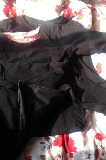 保暖内衣 女单件加绒加厚蕾丝紧身保暖上衣 花朵V领-酒红 上衣 均码-适合体重80-135斤 晒单图