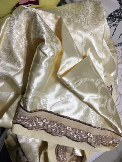 贝思羊家纺婚庆床上四件套纯棉床单贡缎提花全棉床上用品床品套件1.5米 花颜绽放-红雪青 1.8米床用/适用被套200*230 晒单图