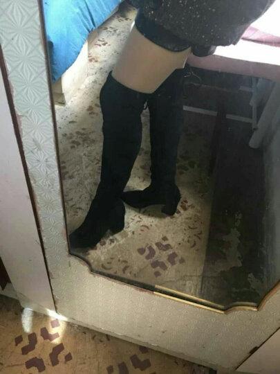 非谜过膝女靴 冬季时尚平底真皮针织袜长靴瘦腿高筒靴 灰色 37 晒单图