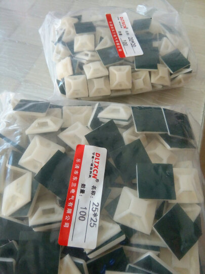 DLTXCN 自粘式尼龙扎带固定座 固定片 扎带吸盘 理线夹进口绿胶100只 100只20*20规格 晒单图