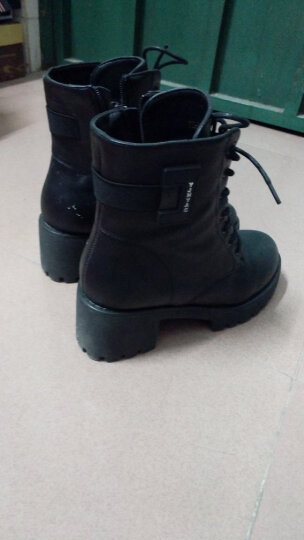 千娇蝶粗高跟马丁靴女靴英伦风短靴女单靴圆头踝靴子冬季新款裸靴子女鞋 黑色QJD2598 37 晒单图