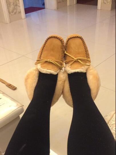 澳洲OZZEG 豆豆鞋女冬季加绒棉鞋保暖羊皮毛一体平底防滑孕妇鞋 暮粉色 36 晒单图