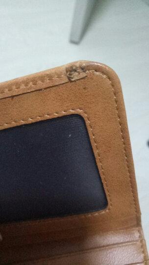 利登阿玛尼意大利男士头层牛皮钱夹油蜡耐磨短款皮夹真皮钱包超薄卡片包竖款驾驶证套 黑铁褐色 晒单图