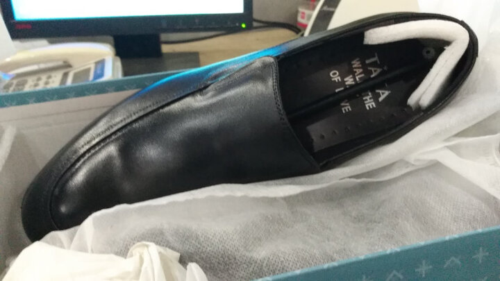 Tata/他她商务休闲时尚大气牛皮男皮鞋 2Q166AM7 棕色 40 晒单图