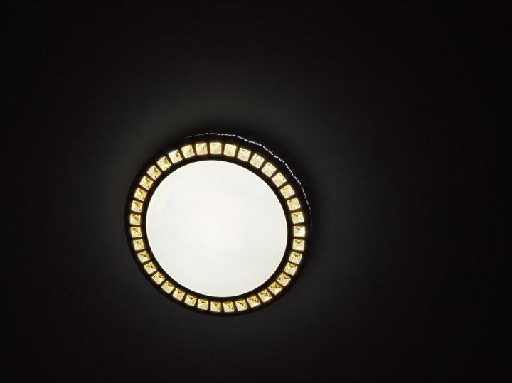 胜居 LED吸顶灯 卧室灯温馨浪漫水晶灯现代简约圆形阳台灯具 浅灰色 晒单图