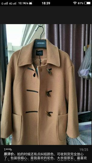 蓝色倾情(LESIES) 冬女装驼色牛角扣双袋设计羊毛呢子大衣178108 07驼色 155/80A 晒单图