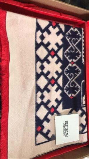 亦尔杜伦围巾女2017秋冬新款加厚保暖仿羊绒印花围脖披肩两用礼盒装 藏青 65*190CM 晒单图