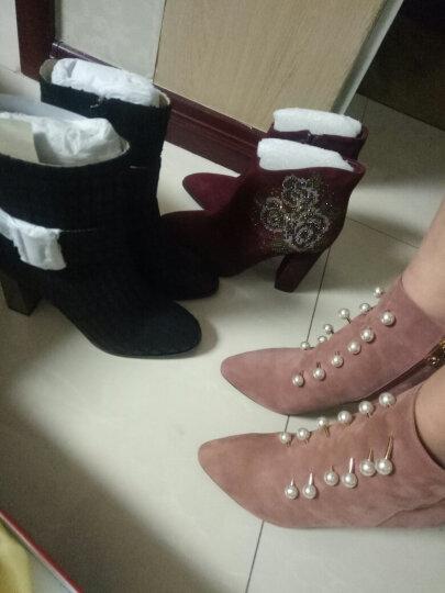柯玛妮克 冬季羊猄皮烫钻花朵女靴 尖头粗高跟短靴 酒红色 39 晒单图