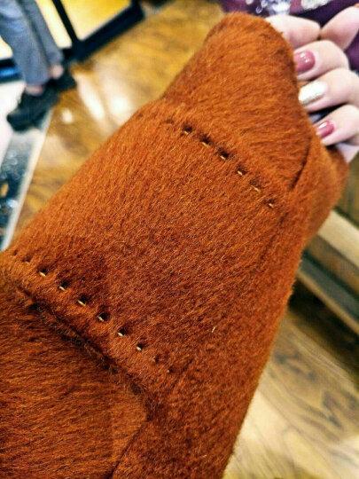奴希(Nuxi)春节必备双面羊绒大衣加厚阿尔巴卡羊驼毛双面毛呢大衣大翻领宽松外套女手工缝制 卡其色 M 晒单图