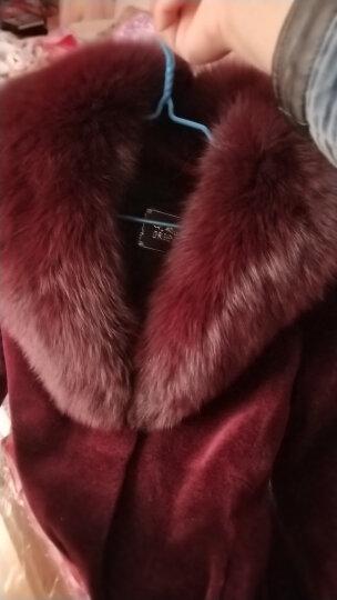 咔琦娜 2017新款羊羔毛大衣气质修身中长款 可拆卸狐狸领皮草外套女 藏青 2XL 晒单图