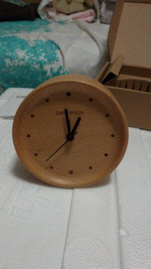 本来设计闹钟北欧原木摆钟创意时尚座钟学生静音床头时钟 榉木点点闹钟 晒单图