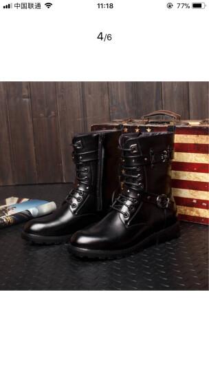 世妮诺秋冬新款保暖马丁靴英伦时尚潮鞋高帮男靴子时装靴机车男靴 黑色808 42 晒单图