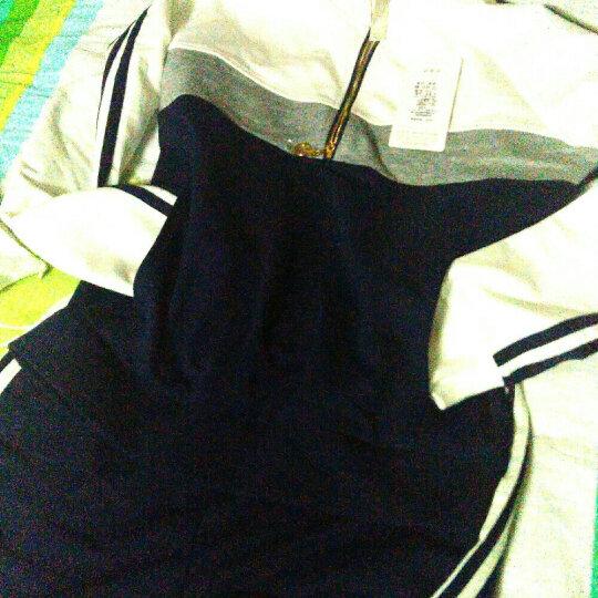 T-HILL2018夏款女装时尚休闲运动服套装女短袖七分裤学生夏季卫衣两件套 长袖 大红-黑色 2XL [建议122-135斤] 晒单图