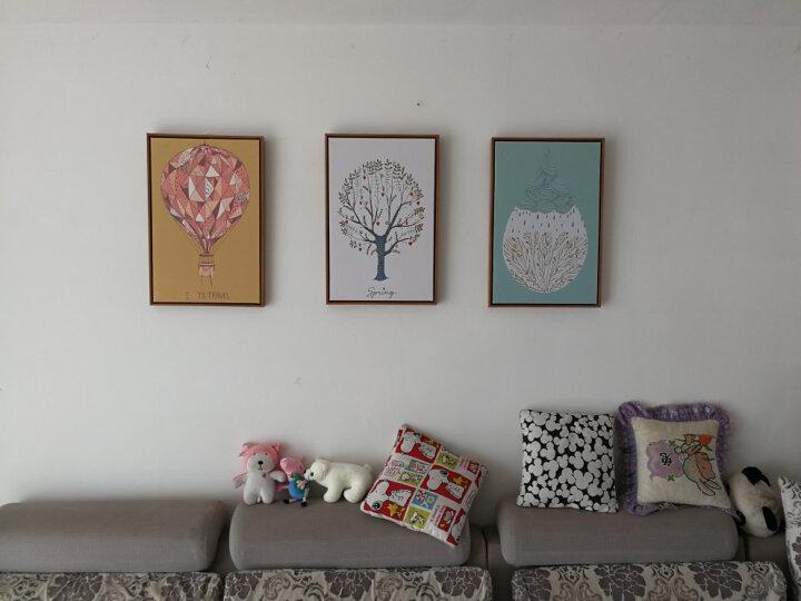 名图 客厅装饰画简约现代玄关壁画走廊床头挂画沙发背景墙三联油画 02-绿叶仙踪(三拼组合) 40*60 晒单图
