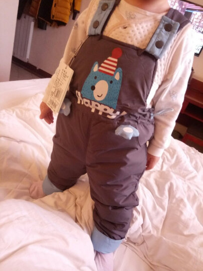 童小鸭之星(TONGXIAOYAZHIXING) 儿童羽绒服宝宝背带裤男女童羽绒裤可开档 17玫红色 90 晒单图