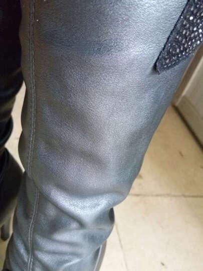 莱卡金顿过膝长靴子细跟加绒保暖女冬季长靴子女高跟高筒骑士靴蕾丝性感弹力马丁靴 黑色 35 晒单图