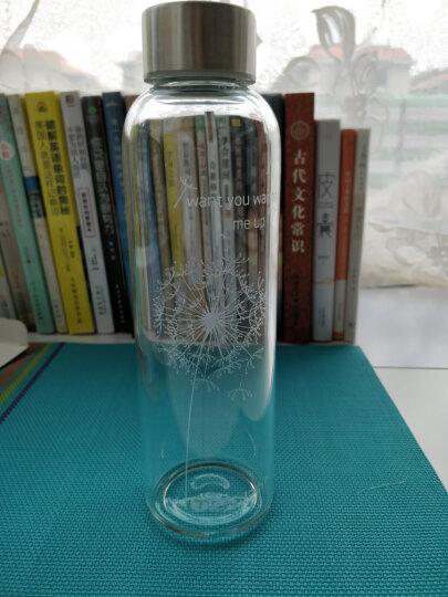 天喜玻璃杯 水杯杯子男女透明便携带盖防漏运动水壶柠檬杯子 加厚耐热泡茶杯 咖啡牛奶杯带套 草绿 晒单图