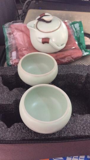 清彩 汝窑旅行功夫茶具套装快客杯 盖碗茶杯旅行茶具包 陶瓷器一壶二杯含旅行包 花瓣快客杯旅行包装 晒单图