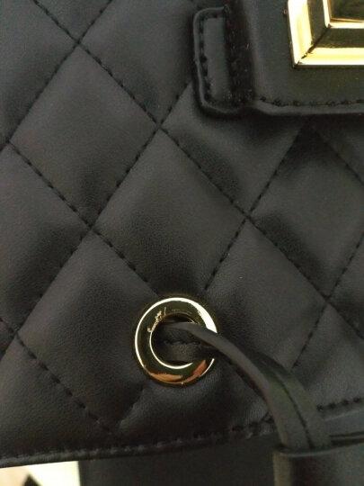 OMTO 2017新款真皮双肩包女士背包 韩版学院风女包包学生潮包 金属扣黑色 晒单图