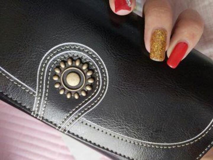 纳兰杜真皮钱包女2020新款太阳花长款韩版零钱钱夹搭扣气质手拿包女 黑色 晒单图