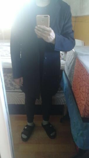高梵 羊毛呢大衣男装2019冬季新款时尚加厚保暖中长款风衣呢子羊绒大衣外套 1723黑色 180/XL 晒单图
