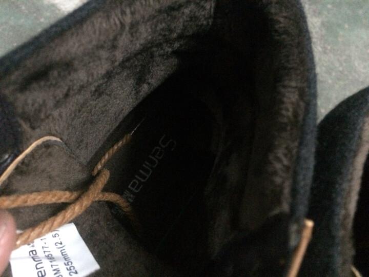 森马 马丁靴男靴新款霸气高帮英伦皮质工装鞋加绒保暖棉鞋系带休闲男鞋子 深蓝77 41 晒单图