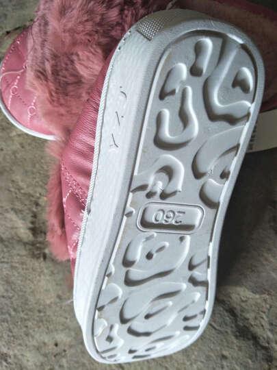 棉拖鞋女厚底冬季高跟韩版室内防滑防水男包跟PU皮毛绒家居拖鞋 粉色 260mm(37-38码穿) 晒单图