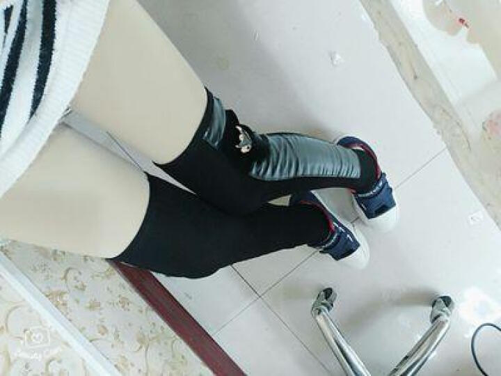 卡维妲(KAWEIDA) 秋冬季女加绒保暖袜套 皮拼接过膝长筒袜 显瘦过膝脚套双层金属 三钻吊链 晒单图