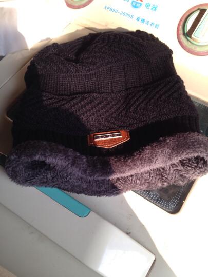 冬季男士帽子韩国版潮毛线帽加厚针织帽秋冬天套头帽包头帽 黑色 晒单图