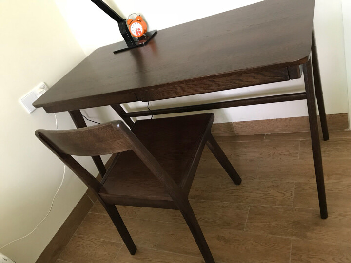 华谊 书桌 实木学习桌 简约电脑桌橡木写字台带抽屉 美式乡村书房家具 1米书桌 晒单图
