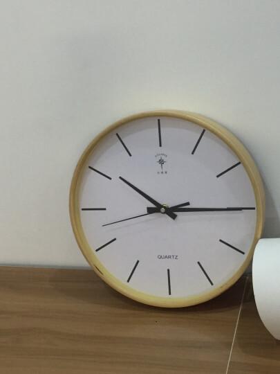 北极星(POLARIS) 时尚卧室客厅钟表日式简约家用大挂钟北欧创意静音圆形实木钟表宜家简约石英钟 大号条形面 晒单图