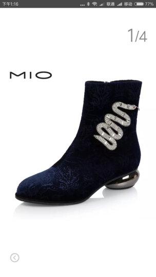 设计师女鞋 MIO米奥女鞋 冬季钻饰中跟优雅女短靴单靴M175608021 黑色 37 晒单图