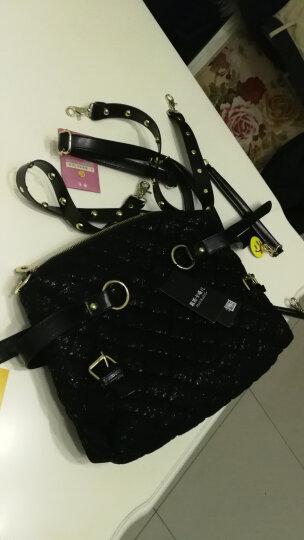 莱蔲茵 新款时尚单肩手提女包韩版蕾丝闪亮大牌斜跨大包包 黑色 晒单图