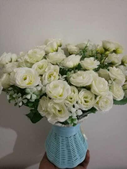 福嘉福  唯美韩国玫瑰仿真花套装客厅欧式玫瑰装饰花绢花艺假花盆栽 玫红玫瑰 晒单图