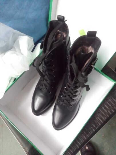 盾狐短靴女秋季女靴细跟高跟蕾丝单靴韩版蝴蝶结中筒靴女尖头女鞋 棕色DH9185 39 晒单图