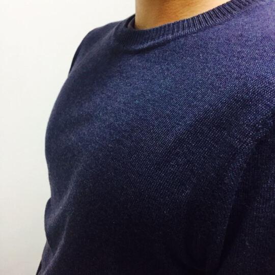 花花公子贵宾 针织衫男 2018春季新款纯色条纹圆领针织T恤毛衣男 纯色红色 3XL 晒单图