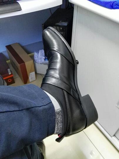 鲁宾尼2018新款皮鞋男商务休闲男士皮鞋一脚蹬懒人高跟加棉皮鞋真皮鞋子男rDgfBMtygo 棕色单鞋 39 晒单图