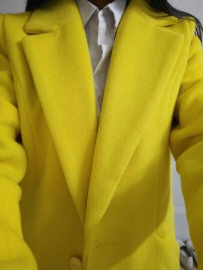 Xivi昕薇2017秋冬季新款羊毛呢大衣女西装领修身中长款韩版毛呢外套女 黄色【不加棉】 S 晒单图