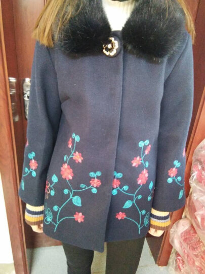 欧简丽 中老年女装冬装毛呢外套短款妈妈装加棉加厚毛领呢子大衣大码中老年人衣服新品2017 藏蓝色 2XL 晒单图