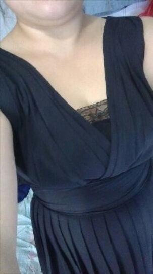 露西迪奥雪纺连衣裙2019春夏季新款韩版无袖V领修身显瘦大码中长款性感公主裙 黑色 L 晒单图