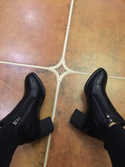 【精选】JOOHEES爵熙 品牌定制女靴粗跟高跟短靴马丁靴女新品700 黑色 36 晒单图