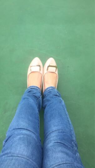 玫蒂莎(MDIS∧) 四季青春款潮流柳钉舒适休闲单鞋女 Y1861 米色 36码 晒单图