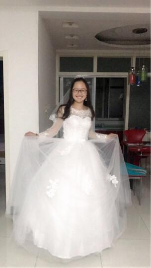 月缦 婚纱 时尚潮流新款简约 新娘结婚 齐地优雅大气 白色 M 晒单图