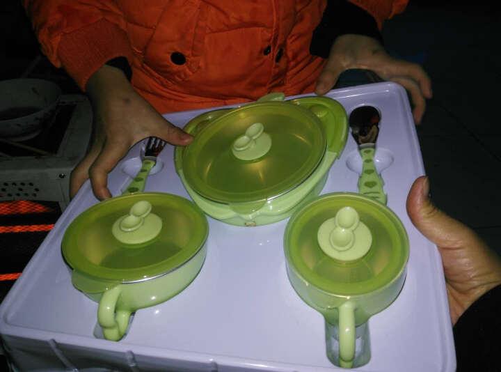 英国泰迪 儿童餐具 婴儿防摔保温碗吸盘碗辅食碗勺套装 宝宝餐具 嫩芽绿-五件套 晒单图